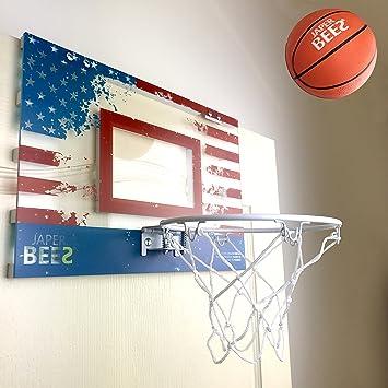 JAPER BEES Patriotic Pro-Mini Basketball over door hoop indoor hanging goal set & Amazon.com : JAPER BEES Patriotic Pro-Mini Basketball over door hoop ...