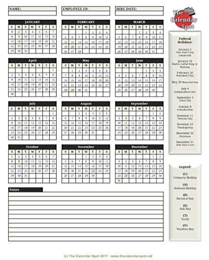 amazon com the calendar spot employee attendance calendar 25