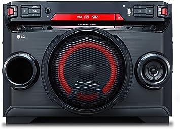 LG OK45, Microcadena (Home Audio Mini System, Multi Bluetooth 4.0, Altavoz Iluminado, Reproductor MP3 y WMA, Entrada de Micrófono), 220W, Negro/Rojo: Lg: Amazon.es: Electrónica