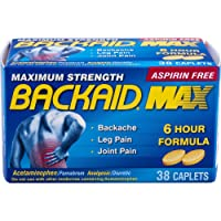 Backaid Max Relief Caplets, Aspirin-Free Pain Relief from Backache, Sciatica, and Leg Pain, Long-Lasting 6 Hour Formula, Analgesic/Diuretic 38 Count