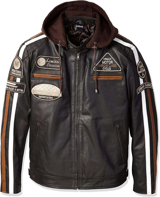 Urban Leather Motorcycle Jacket Blue Size Medium