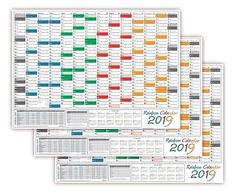 Calendario Festivi 2020.3 Pezzi Rainbow Calendario Da Muro Parete Planer 2019
