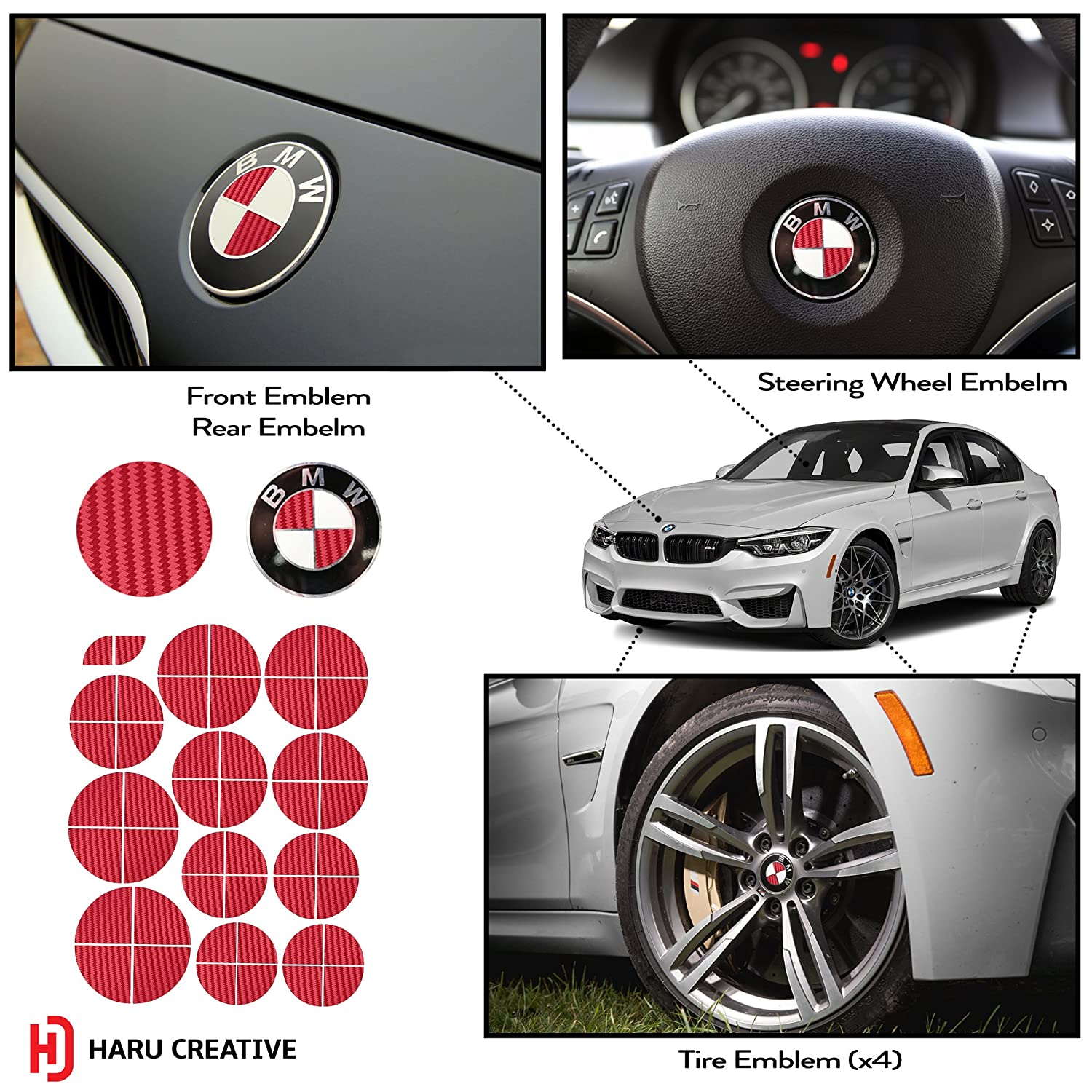 Amazon.com: Haru Creative - BMW Emblem Caps Overlay Vinyl Decal ...