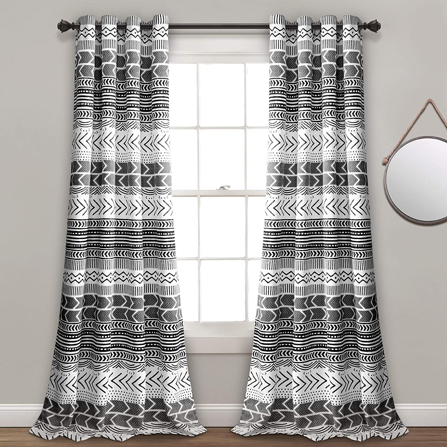 "Lush Decor Hygge Geo Room Darkening Window Curtain Panel Pair, 84"" x 52"", Black & White"