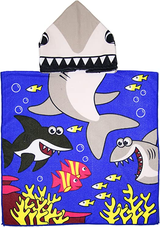 Basico Kids Bath Beach Hooded Towel 100/% Cotton Poncho Wrap 24 x 48, Mermaid