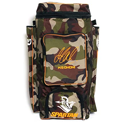 57ff3684325 Buy Spartan Ms Dhoni Cricket Kit Camouflage Backpack- Orange Print Online  at Low Prices in India - Amazon.in