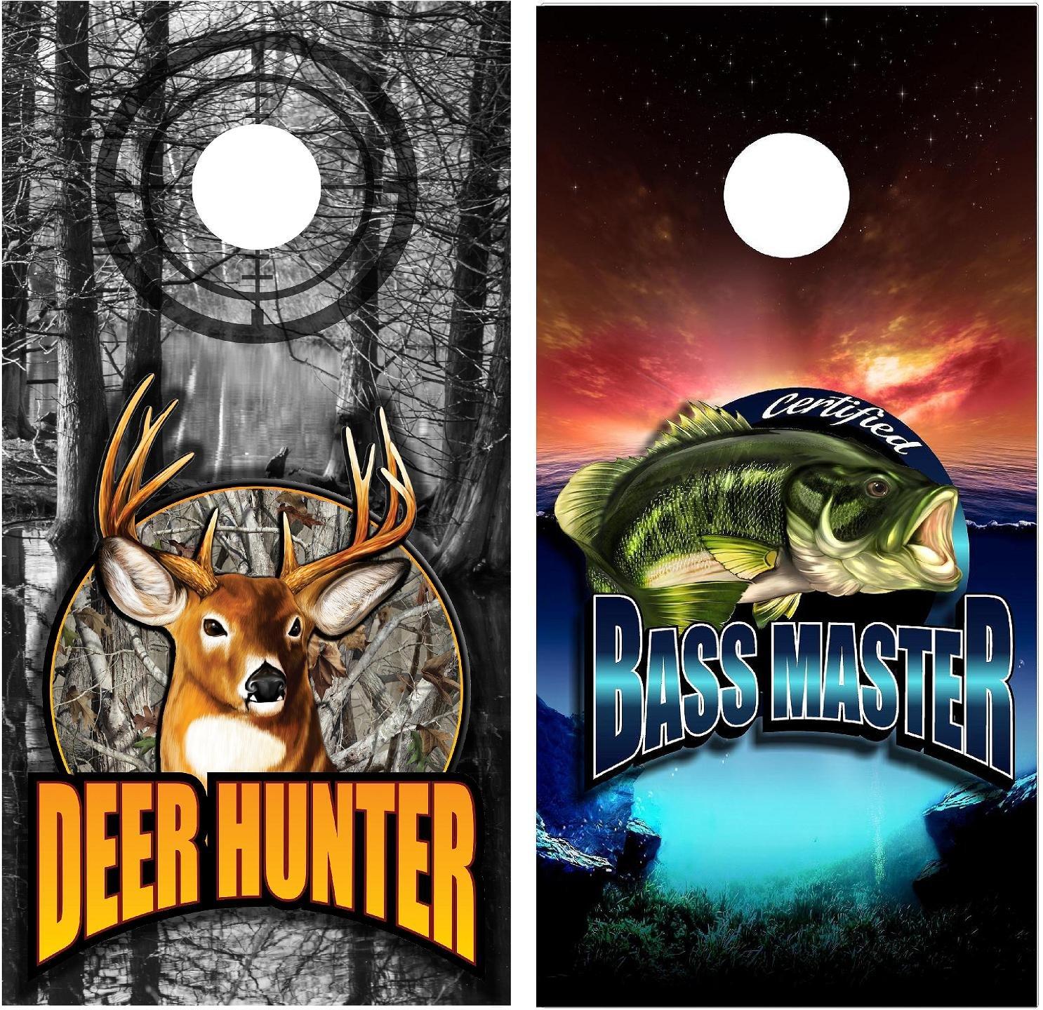 Corn Hole Wrap set! Deer Hunter vs Bass Master 2x Decals (24'' x 48'') Custom Camo logo Sport White Tail Sunset Lake graphics for cornhole baggo Bag Toss boards game