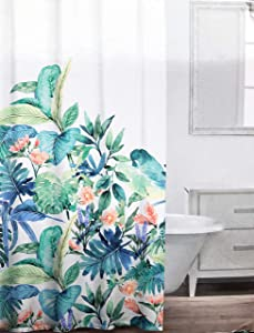 Caro Fabric Shower Curtain Vibrant Tropical Floral Pattern in Shades of Pink Blue Green on White - Maui Jungle, Turquoise
