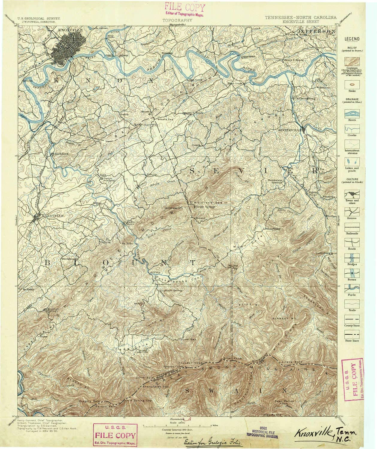 YellowMaps Knoxville TN topo map, 1:125000 Scale, 30 X 30 Minute, Historical, 1895, 20 x 16.8 in