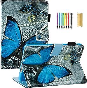 iPad Mini Case, iPad Mini 2 Case, iPad Mini 4 Case - Dteck Premium Leather Multi-Angle Stand Folio Smart Wake/Sleep Case Soft Back Cover for iPad Mini 4/Mini 3/Mini 2, One Blue Butterfly