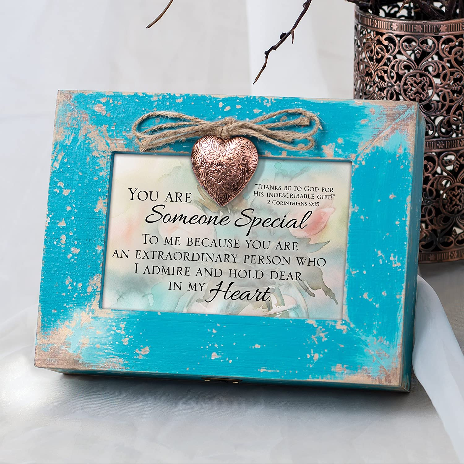 Cottage Garden Someone Special Dear in Heart Teal Distressed Locket Music Box Plays Friend in Jesus