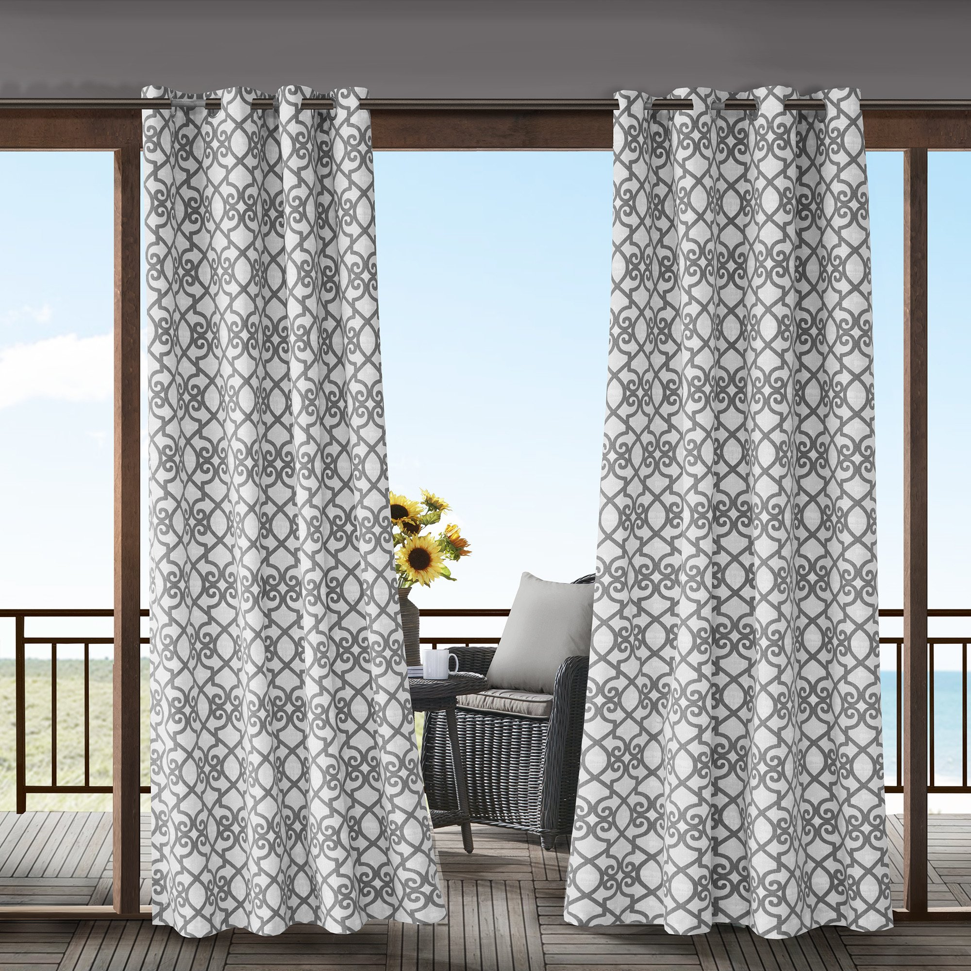 1 Piece Grey Fretwork Gazebo Curtain Panel 95 Inch, Gray Trellis Outdoor Curtain Light Filtering For Patio Porch, Water Resistant Indoor/outdoor Drapes For Sunroom Pergola Garden Grommet, Polyester