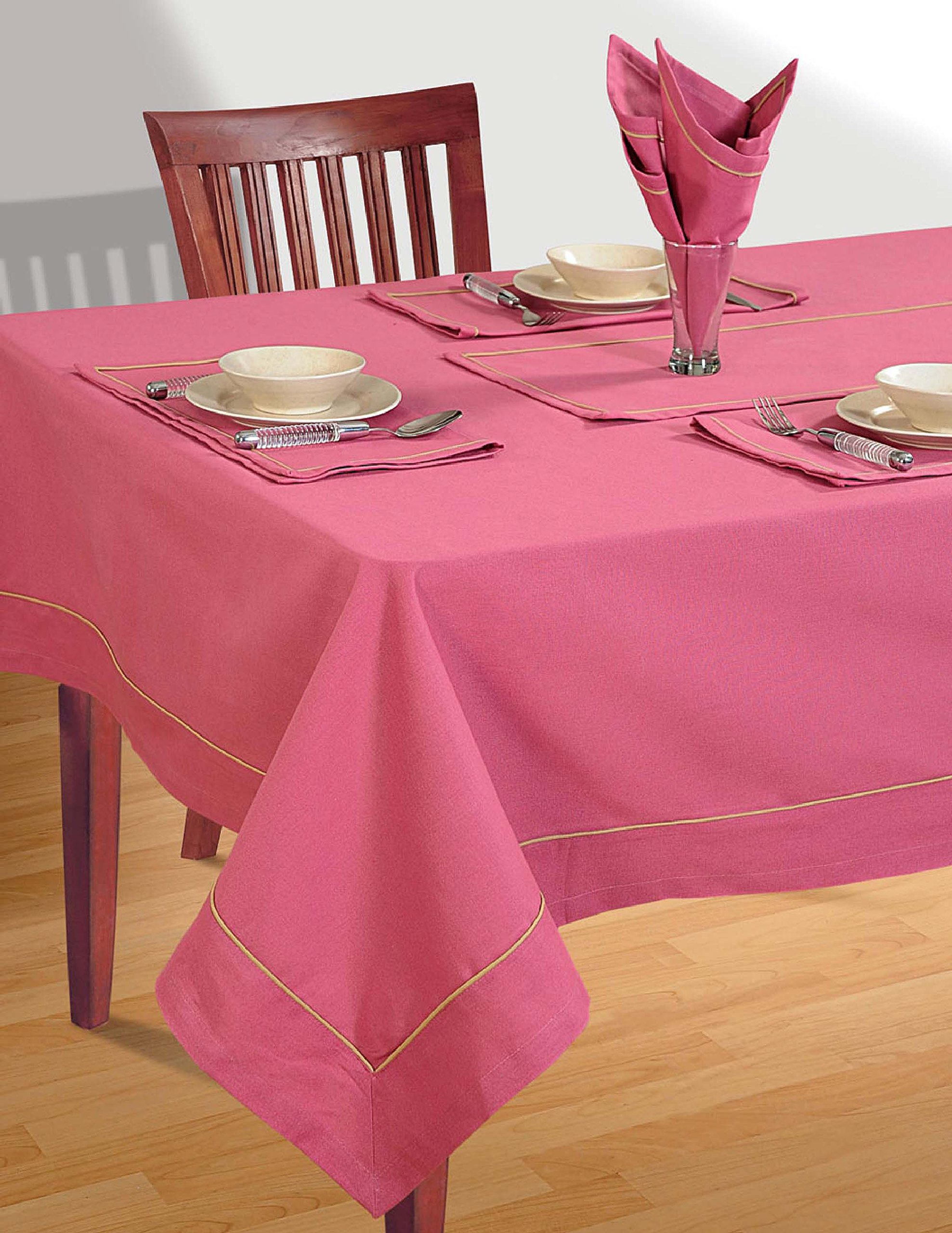 ShalinIndia Dusty Rose Table cloth Spring Decorations for Home Size- 140 X 56 inches