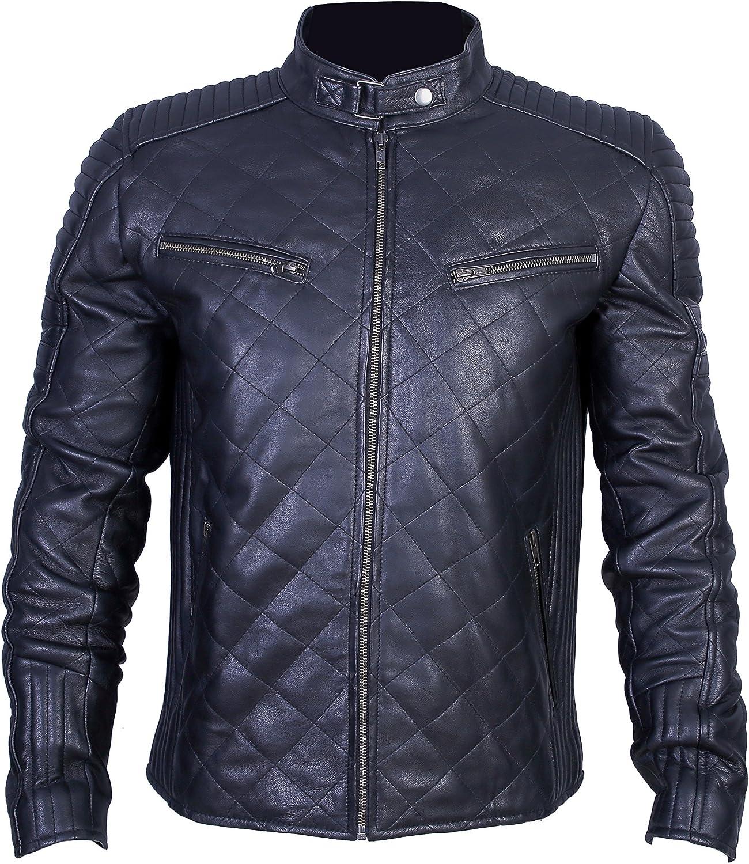 Schwarz Gro/ße Urban Leather UR-49 Motorrad Leder Jacke Herren 956 S
