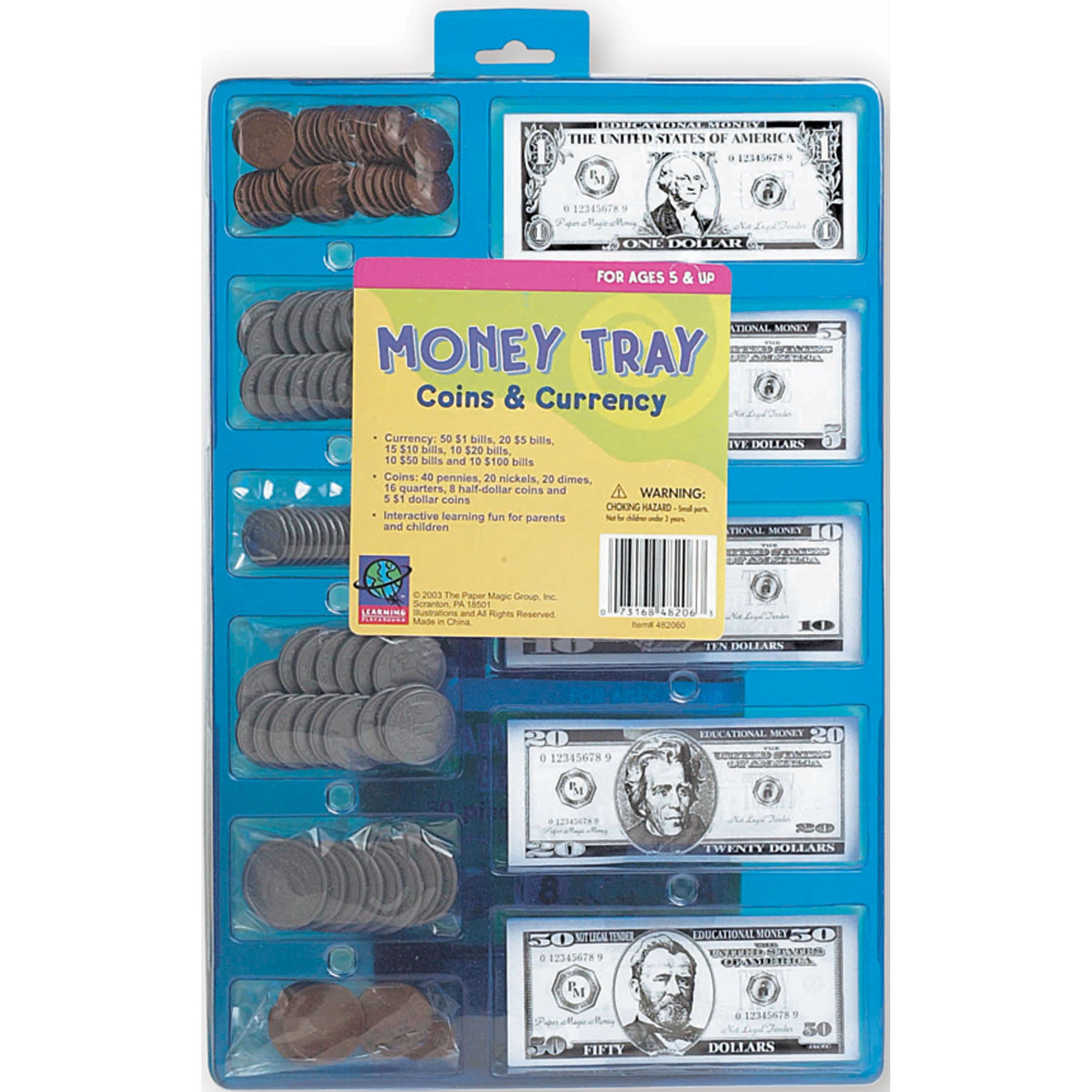 Eureka U.S Currency Coins and Bills Play Money Set for Kids, 224pc