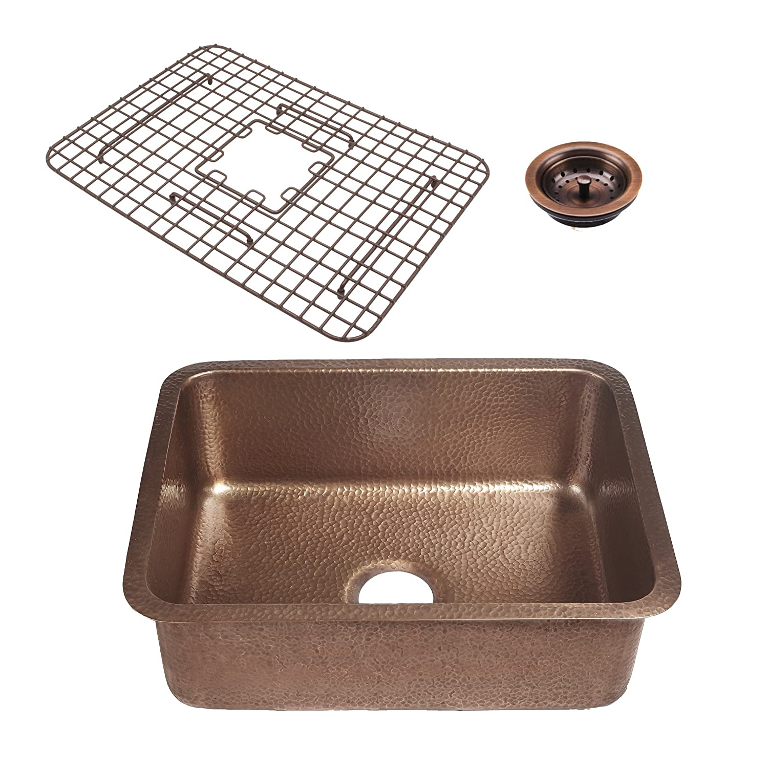 Sinkology SK201-23AC-WG-B Renoir with Fuller Grid and Basket Strainer Undermount Kitchen Sink, 23 in x 17.25 in x 8 in in, Antique Copper