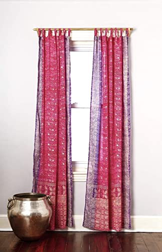Pink Purple Curtain Boho Window Treatment Light Sari 108 96 84 inch for Bedroom Living room Dining room Kids Yoga Studio Canopy Bed Tent Hippie Gypsy Bohemian Chic Bright Colorful HomeDecor W Gift bag