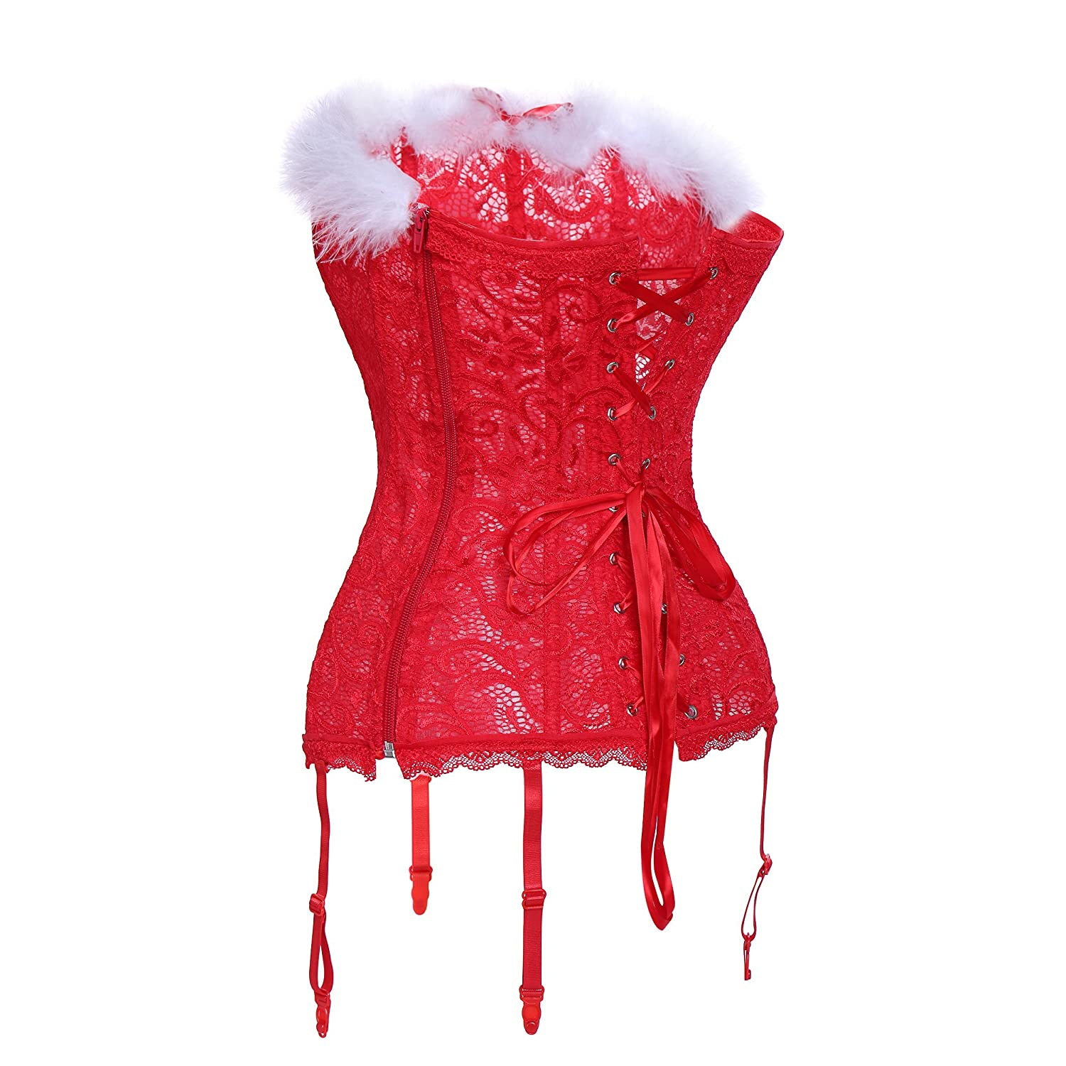 2b17e003f6a MISS MOLY Women s Lace Christmas Sexy Santa Girls Velvet Bustier Corset  Costume Outfit (w Hat