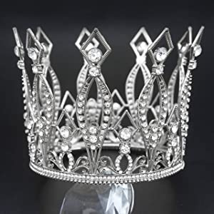 Silver Crown, Vofler Cake Topper Baroque Queen Tiara Vintage Tall Crowns Retro Crystal Rhinestone Hair Jewelry Decor for Women Ladies Girls Bridal King Princess Costume Party Birthday Wedding Pageant
