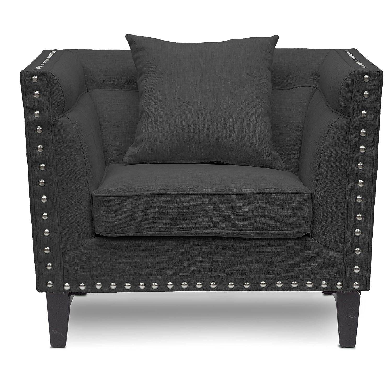Miraculous Baxton Studio Stapleton Linen Modern Accent Chair Grey Spiritservingveterans Wood Chair Design Ideas Spiritservingveteransorg