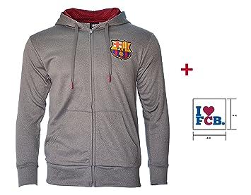 FC Barcelona con cremallera gris chaqueta de forro polar azul marino adultos producto oficial de Nueva