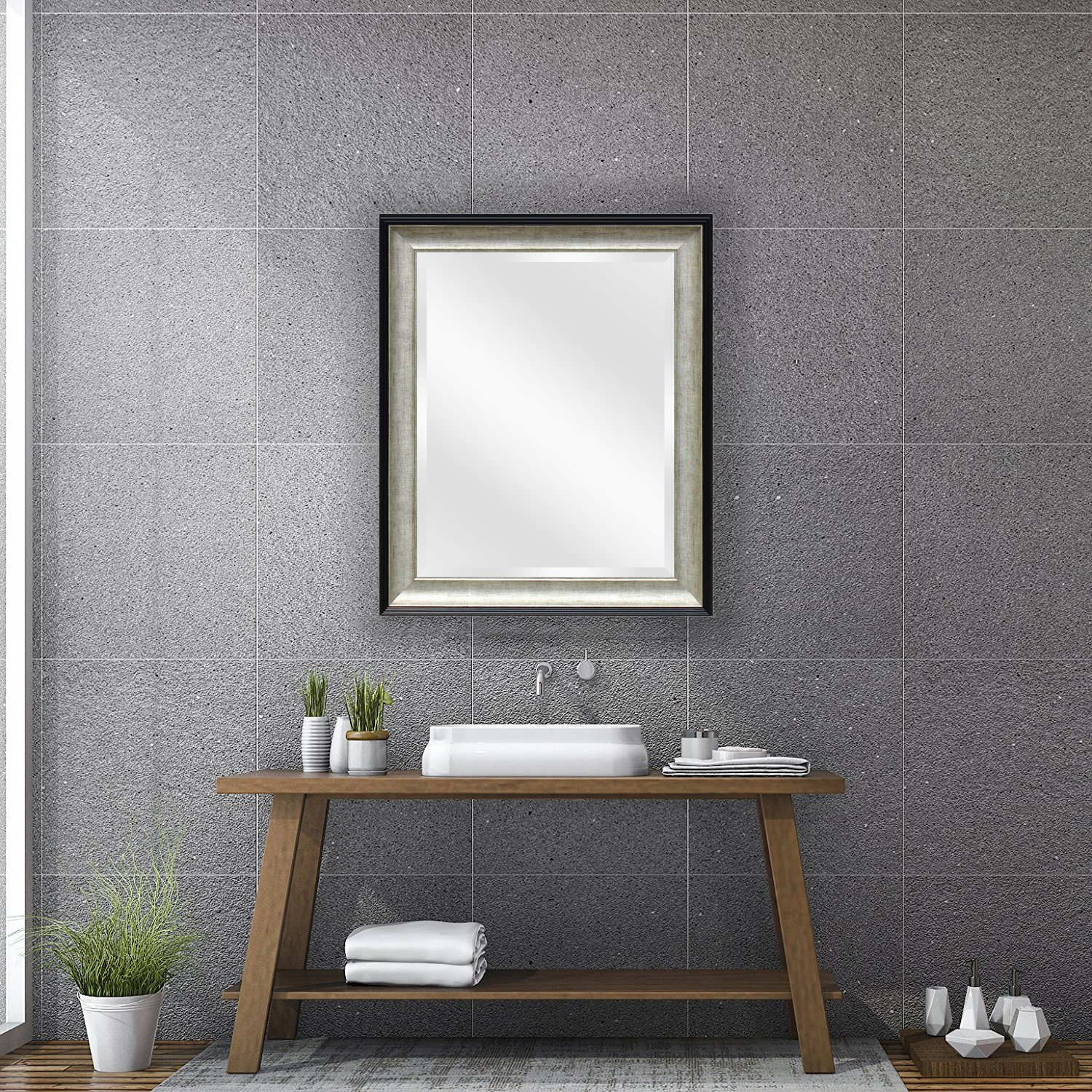 """7895c472c10f Wall Beveled Mirror Framed - Bedroom or Bathroom Rectangular Frame Hangs  Horizontal    Vertical by EcoHome  (21 x25"""""""