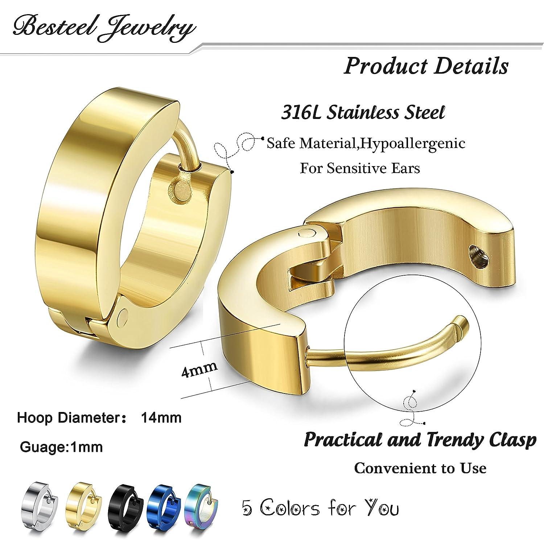 0b4ac5fb4c2d0 Besteel 10 Pairs Hoop Earrings Gauge Earrings for Men Women Stainless Steel  Cool Earrings Set