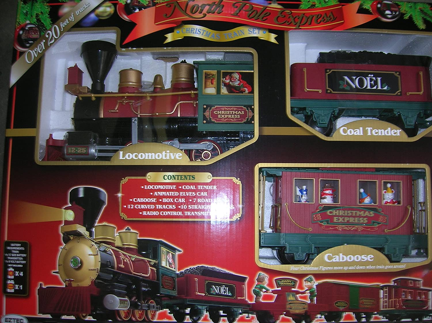 Amazon.com: North Pole Express Christmas Train Set 35 Pieces ...