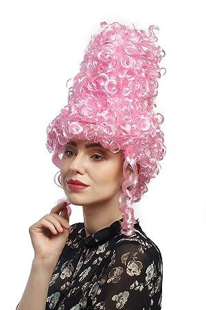 WIG ME UP ® - DH1032-PC28 Peluca Mujeres Carnaval Halloween cardado Peinado Colmena Barroco Renacimiento Rosa Claro 35 cm: Amazon.es: Juguetes y juegos