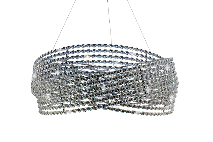 Large 8 Light Diamante Crystal Chrome Chandelier Pendant