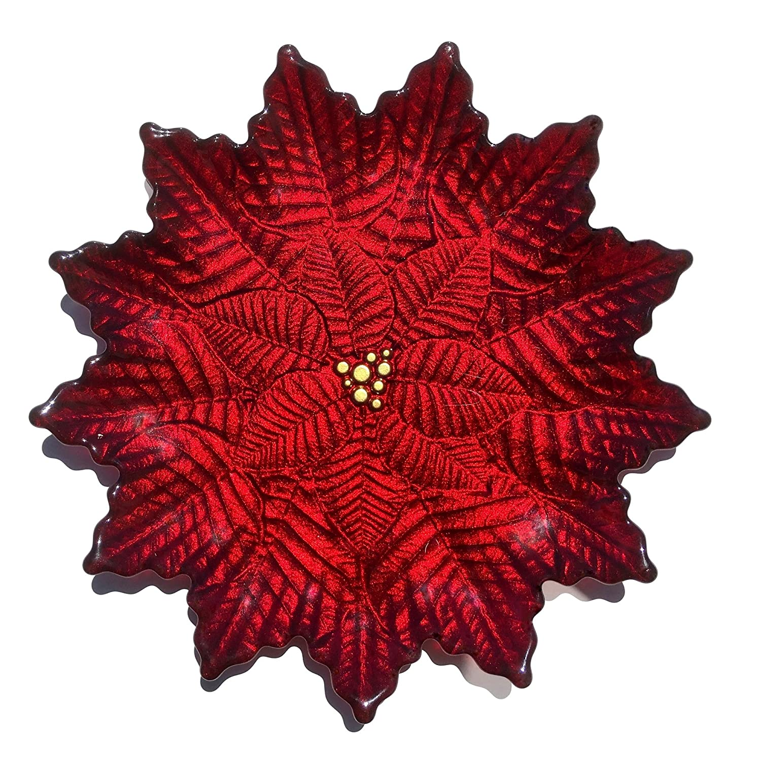 Red Pomegranate 2852-4 Poinsettia Salad Plates (Set of 2), Gold