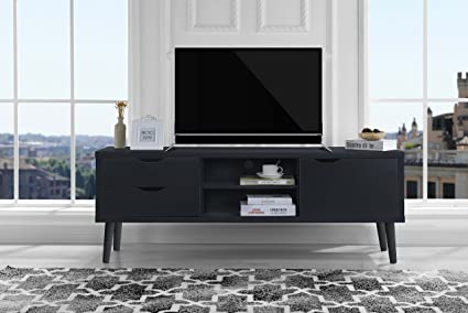 sofamania mid century style tv stand living room entertainment center dark grey - Entertainment Centers Tv Stands