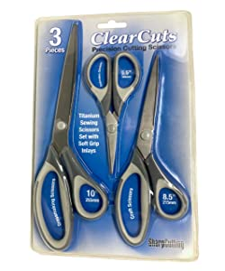 Best Titanium Scissors - 3 Shears in One Pack - Precision Cutting Blades for Sewing - Office Scissors - Gift Art and Craft Set - Sharp Scissors That Wont Break - Craft Siccors