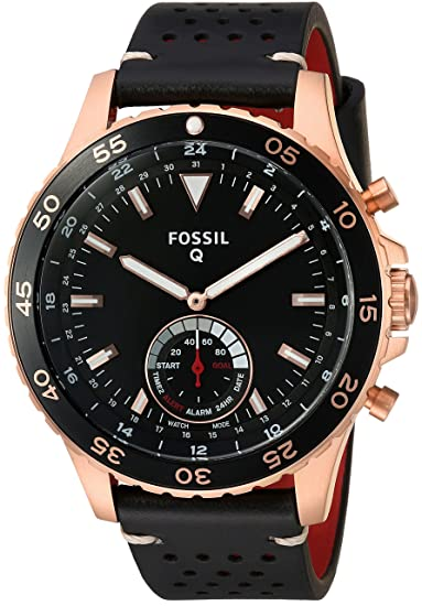 Fossil Q híbrida Smartwatch Hombre crewmaster Negro Piel ftw1141: Amazon.es: Relojes