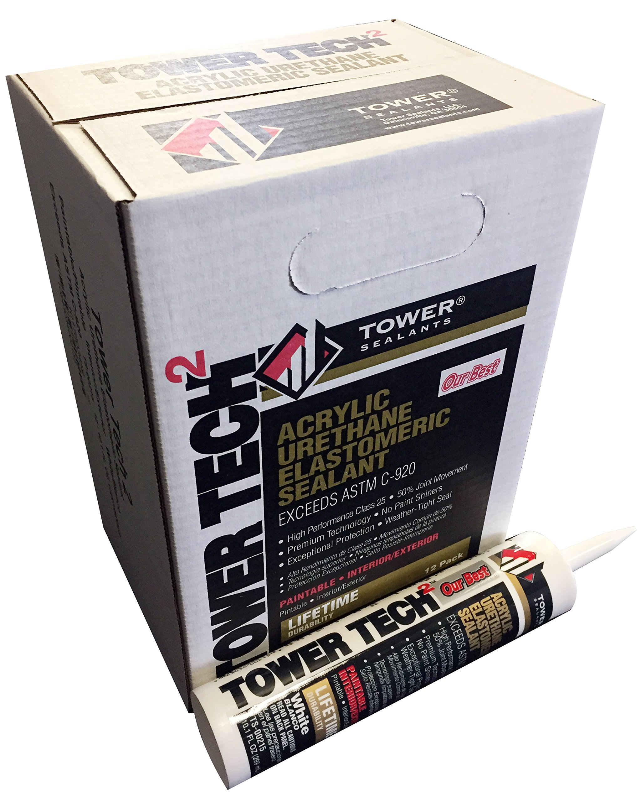 Tower Sealants TS-00215 10.1 fl-Ounce Tower Tech 2 Acrylic Urethane Sealant, White - Pack of 12