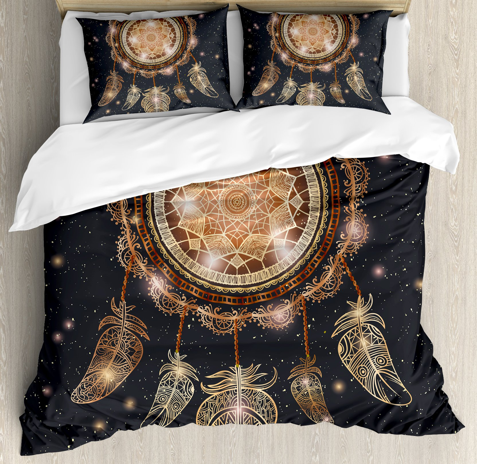 Ambesonne Mandala Duvet Cover Set Queen Size, Native American Dreamcatcher Motif Magic Feathers Hippie Design on Starry Backdrop, Decorative 3 Piece Bedding Set with 2 Pillow Shams, Multicolor