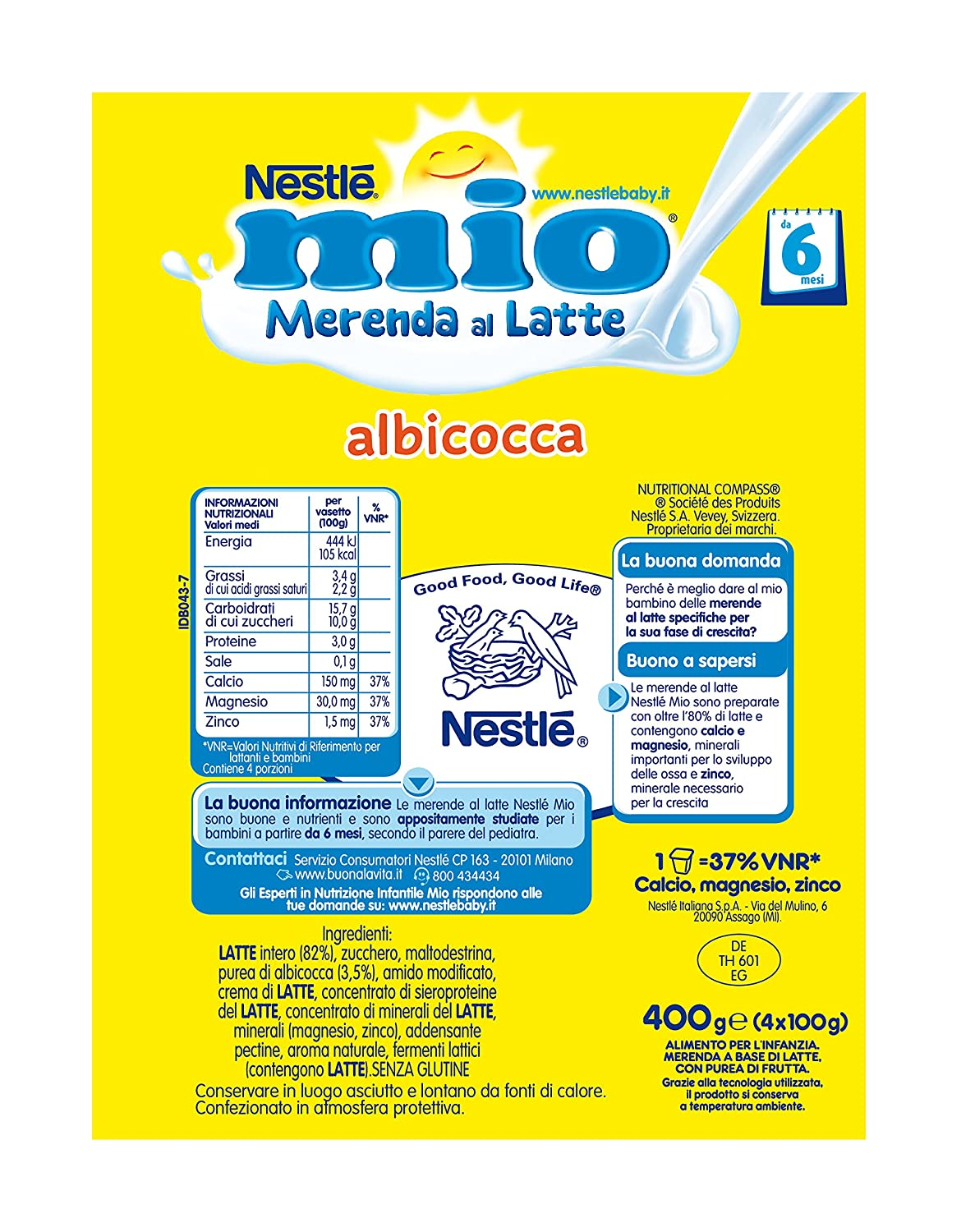 Amazon.com: Nestlé My Merenda Milk Apricot 4x100g: Health & Personal Care
