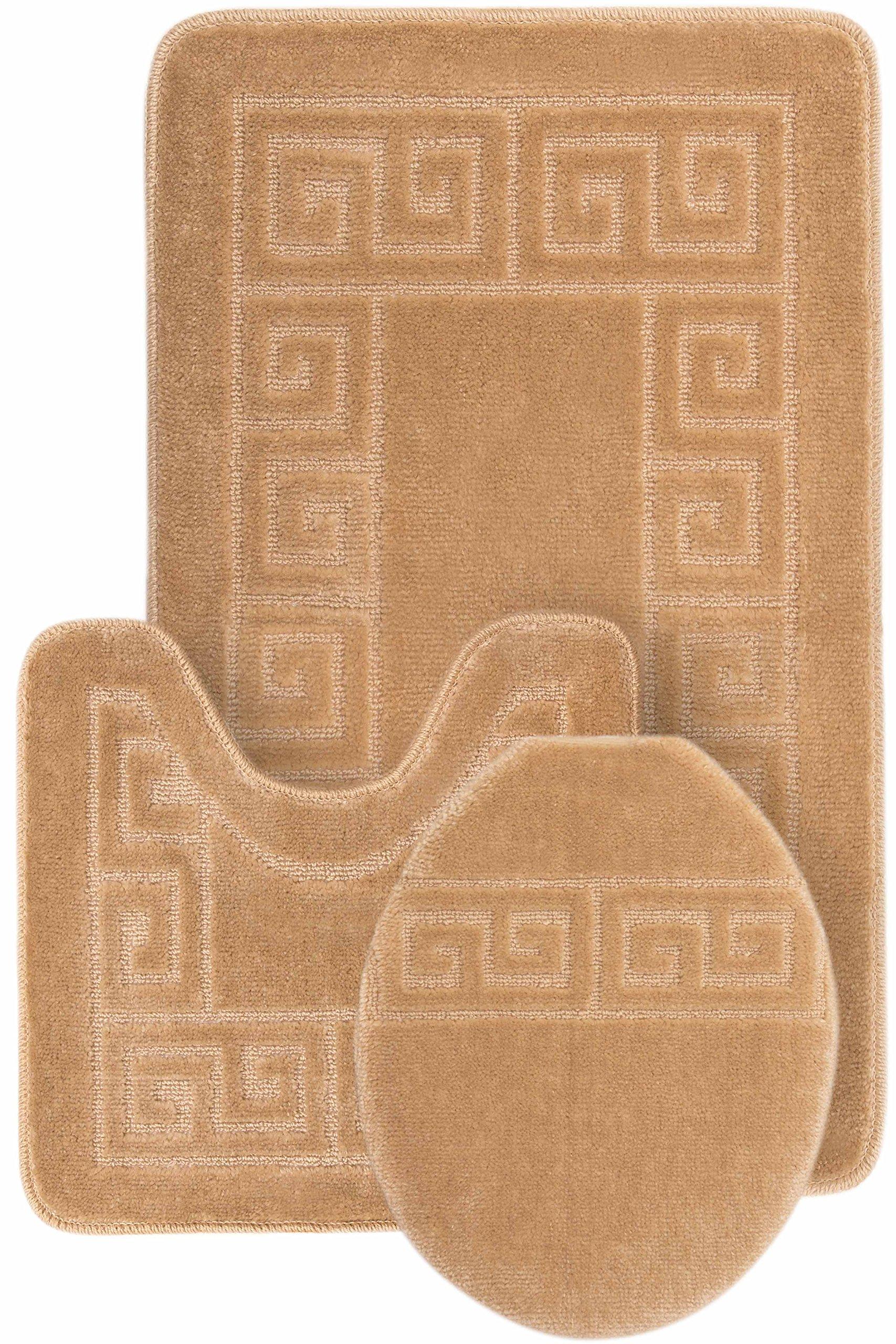 3 Piece Bath Rug Set Pattern Bathroom Rug (20''x32'')/large Contour Mat (20''x20'') with Lid Cover (Beige)
