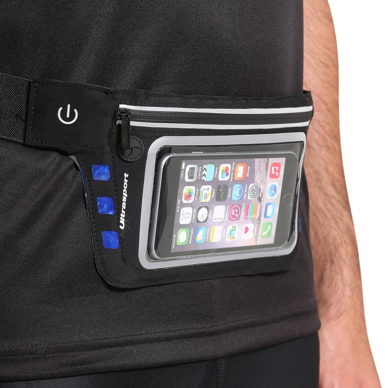 4.7 inch Ultrasport belt with LED lighting and neoprene zip pocket Blue