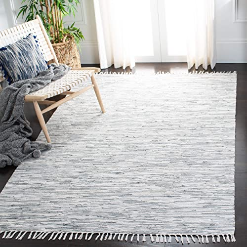 Safavieh Montauk Collection MTK753A Handmade Flatweave Silver Cotton Area Rug 9' x 12'