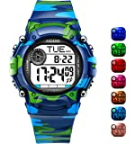 AZLAND 7 Colors Flashing, 3 Multiple Alarms Reminder Sports Kids Wristwatch Waterproof Boys Girls Digital Watches Camo