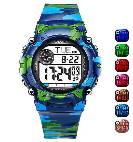 ... 3 alarmas de múltiples recordatorio deportes niños reloj de pulsera impermeable niños niñas Digital Relojes camuflaje: Amazon.es: Relojes