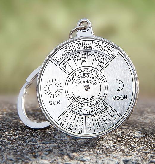 50 Year Perpetual Calendar Key Ring, Unique Calendar Mini Metal Keychain