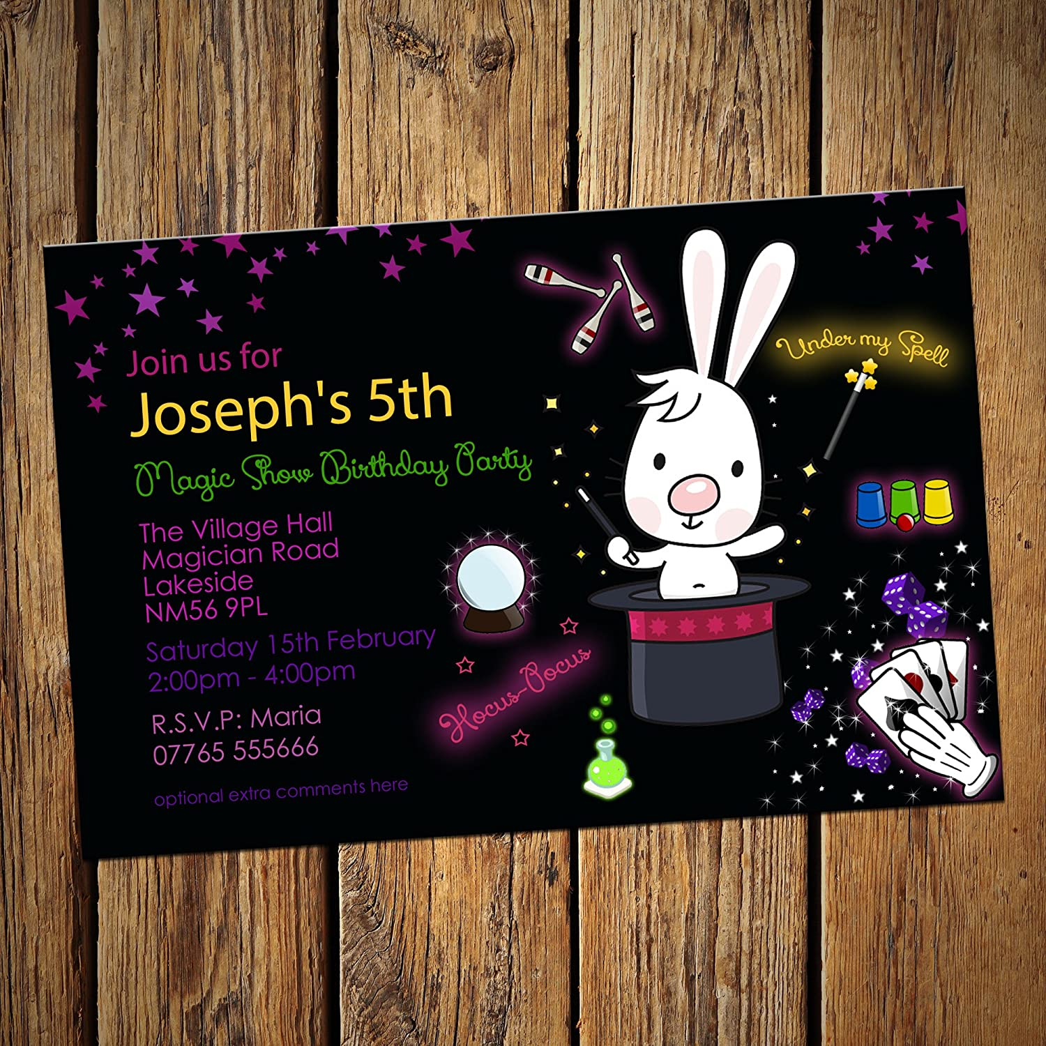 Magic Show Birthday Party Invitations - (Pack of 16) Personalised ...