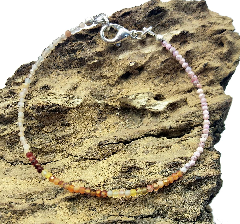 LOVEKUSH - Pulsera de gemas (75% de cornalina, rodocrosita, piedra lunar de melocotón chapada en plata, 2 mm, Rondelle y facetado, 17,8 cm de largo) BG12