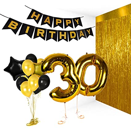 Golden Happy 30th Birthday Party Decorations Metallic Number Balloons For Anniversary Gifts And Photo Booth Props