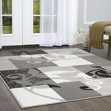 Home Dynamix Frizzle Modern Area Rug Geometric Gray White 7 10 X10 2 Furniture Decor