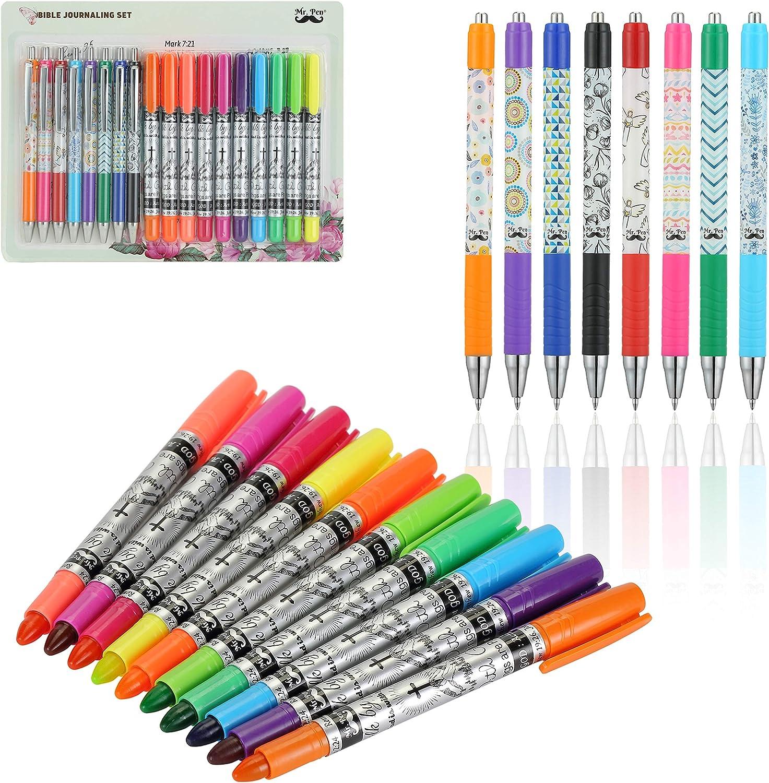 Mr. Pen- Bible Journaling Kit, 18 Pack (10 Bible Gel Highlighter, 8 Bible Pens), Bible Highlighters and Pens No Bleed, Gel Highlighters, Bible Pens, Bible Pens and Highlighters No Bleed, Gift, Gifts