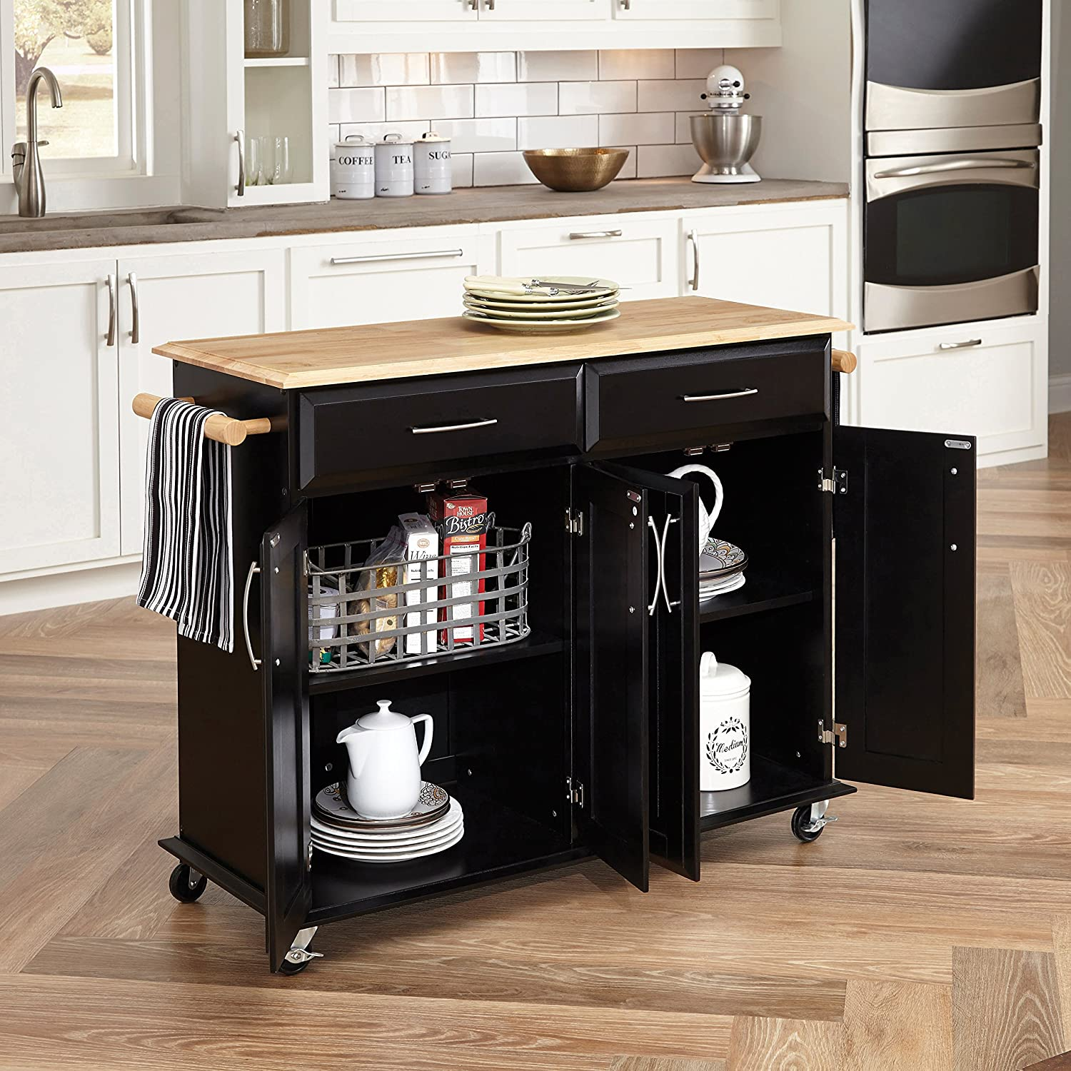 amazoncom home styles 4528 95 dolly madison kitchen cart black finish kitchen dining - Black Kitchen Island