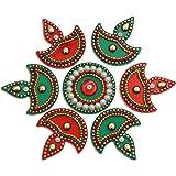 iKreationAcrylic Diya Small Rangoli(Red and Green) - Pack of 7
